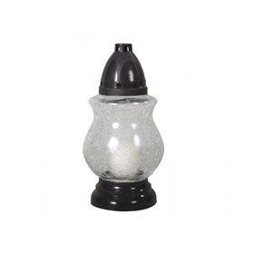 Lampa hřbitovní skleněná MODERN 80g d13x24cm poprask plastová