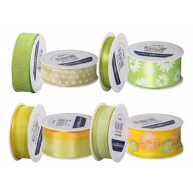 Stuha JARO dekorační/cívka/mix žluto-zelená